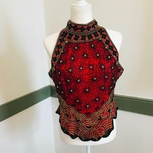 Papell Boutique Beaded Silk Halter Top